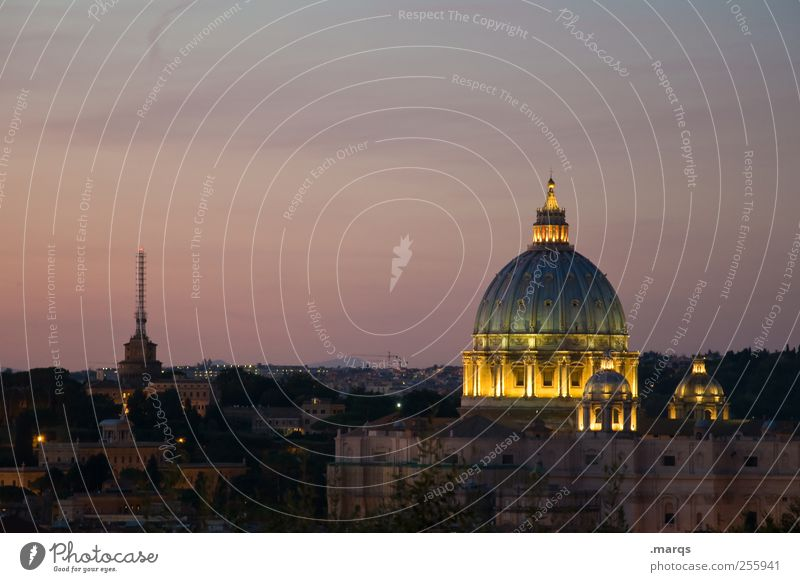 Dom Himmel Farbe dunkel Architektur Religion & Glaube leuchten Italien Bauwerk Stadtzentrum Dom Hauptstadt Sightseeing Rom Dämmerung Ferien & Urlaub & Reisen Städtereise