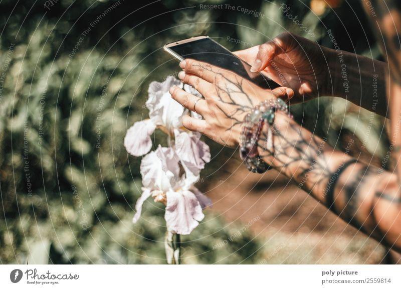 Insta your life - [AM107] Kind Natur Ferien & Urlaub & Reisen Jugendliche Junge Frau Sommer Sonne Hand Blume Wald 18-30 Jahre Lifestyle Erwachsene Leben Umwelt