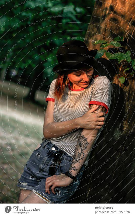 [LS136] - don't be so shy Lifestyle schön Freizeit & Hobby feminin Junge Frau Jugendliche Erwachsene Leben 13-18 Jahre 18-30 Jahre Sommer Herbst Park Identität