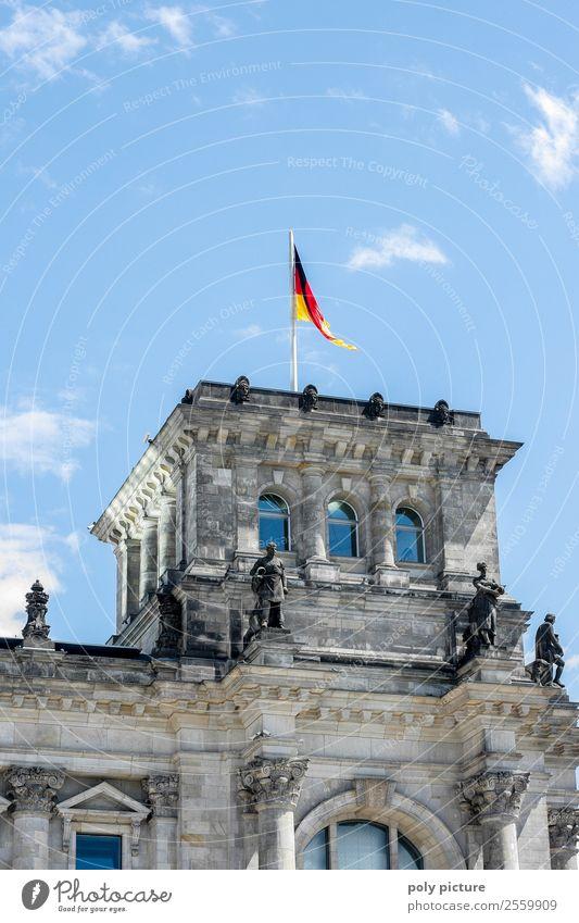 Reichstag Berlin Himmel Ferien & Urlaub & Reisen Stadt Wolken Tourismus Deutschland Ausflug Wetter Schönes Wetter Zukunft einzigartig Deutsche Flagge