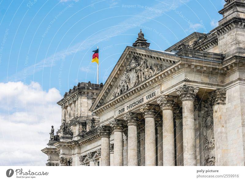 Reichstag (Bundestag) in Berlin Ferien & Urlaub & Reisen Tourismus Ausflug Sommer Sommerurlaub Himmel Wolken Schönes Wetter Stadt Hauptstadt Stadtzentrum