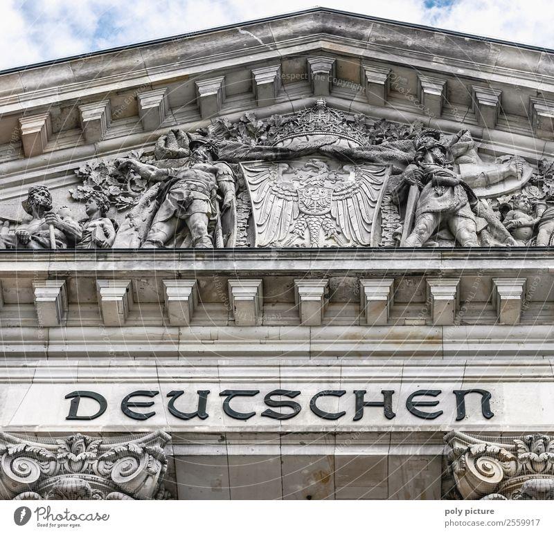 """""""Dem deutschen Volke"""" - Reichstag Berlin Tourismus Freiheit Sightseeing Städtereise Sommerurlaub Stadt Hauptstadt Stadtzentrum Altstadt Bauwerk Gebäude"""