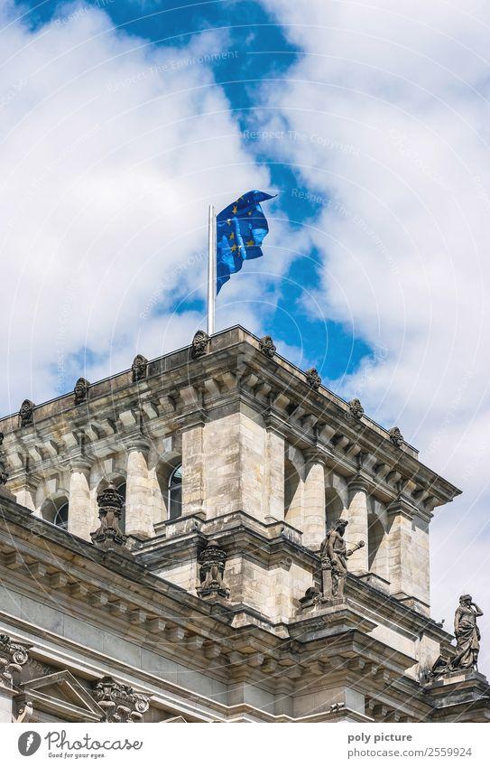 Europa-Flagge auf dem Bundestag Himmel Stadt Wolken Architektur Berlin Gebäude Tourismus Deutschland Zufriedenheit Wetter Schönes Wetter einzigartig