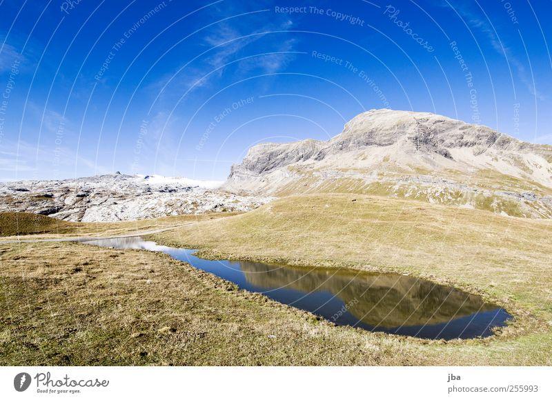 Bergsee Himmel Natur alt Wasser Sommer ruhig Landschaft Leben Schnee Herbst Berge u. Gebirge Freiheit Gras Zufriedenheit Felsen wild