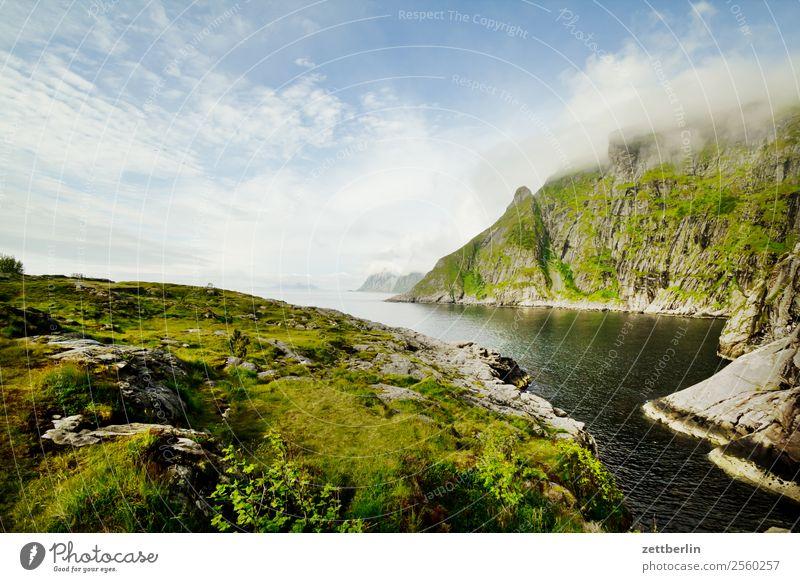 Å again Polarmeer Europa Felsen Ferien & Urlaub & Reisen Fjord Himmel Himmel (Jenseits) Horizont Insel Landschaft Lofoten maritim Meer Natur nordisch Norwegen