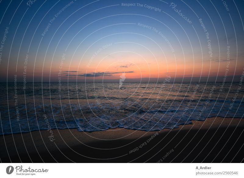 Sonnenuntergang am Meer Landschaft Wasser Himmel Horizont Sonnenaufgang Sommer Schönes Wetter Wellen Strand Nordsee Schwimmen & Baden blau braun mehrfarbig