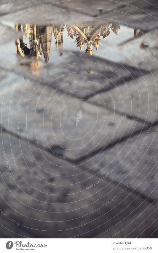 Markusplatz I Kunst Skulptur ästhetisch Pfütze Reflexion & Spiegelung Venedig San Marco Basilica Perspektive oben unten Boden Pflastersteine Sandstein Kultur