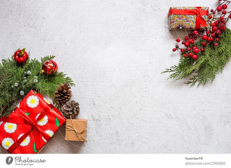 Weihnachtshintergrund mit Dekorationen Winter Schnee Dekoration & Verzierung Schreibtisch Weihnachten & Advent Silvester u. Neujahr PDA Baum Paket Kreativität