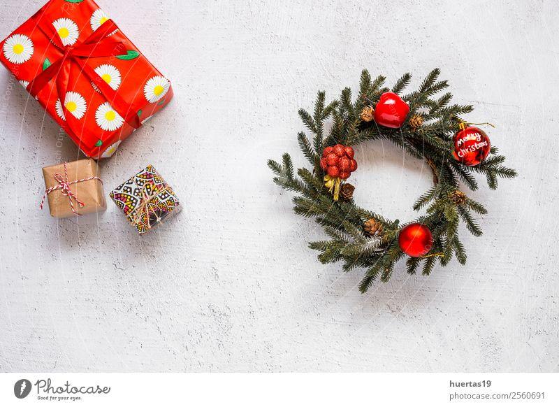 Weihnachtshintergrund mit Dekorationen Lifestyle Winter Schnee Dekoration & Verzierung Schreibtisch Weihnachten & Advent Silvester u. Neujahr PDA Baum Paket