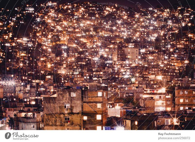 favela lights Tourismus Ausflug Abenteuer Ferne Sightseeing Häusliches Leben Wohnung Energiewirtschaft Rio de Janeiro Südamerika Brasilien Elendsviertel Stadt