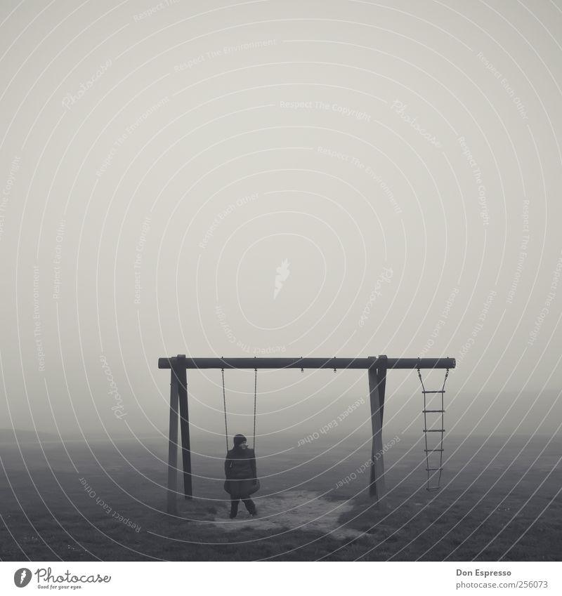 Ruhe. Frau Erwachsene 1 Mensch Herbst schlechtes Wetter Nebel Denken Erholung schaukeln sitzen Spielen träumen Traurigkeit retro trist Gefühle Stimmung geduldig