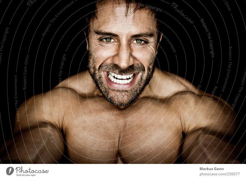 Muskelmann Sport Fitness Sport-Training Sportler Mensch maskulin Mann Erwachsene Gesicht Brust 1 Bart Aggression sportlich bedrohlich Kraft Bodybuilder