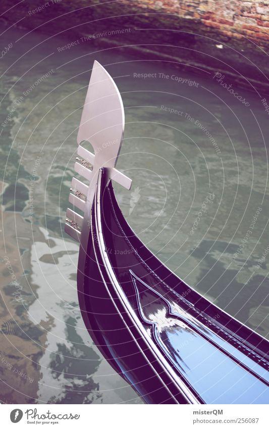 Gondel. Ferien & Urlaub & Reisen Kunst Tourismus ästhetisch Fluss Reisefotografie Schifffahrt Wasseroberfläche Venedig Schiffsbug Gondel (Boot) Urlaubsfoto