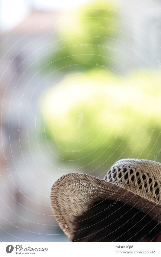 Gondoliere. ästhetisch Hut Kopf Alltagsfotografie grün Farbfoto Gedeckte Farben Außenaufnahme Nahaufnahme Detailaufnahme Experiment Textfreiraum links