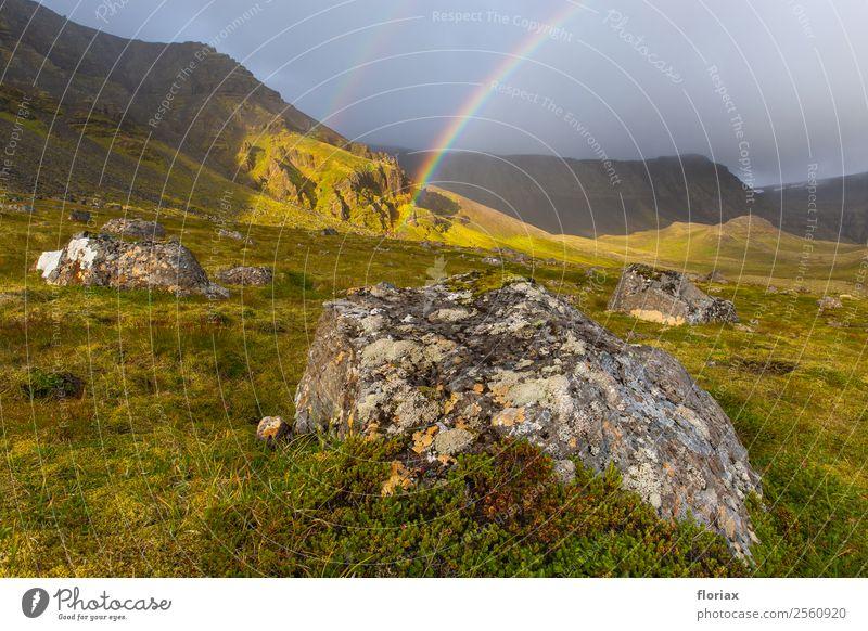 Regenbogen auf Island I / IV Himmel Natur Ferien & Urlaub & Reisen Pflanze Wasser Landschaft Wolken Ferne Berge u. Gebirge Umwelt Gras Tourismus Freiheit Stein