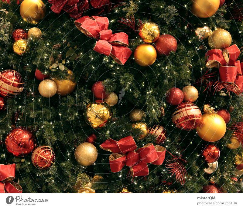 X-mas. Weihnachten & Advent Baum rot Kunst gold ästhetisch Geschenk Dekoration & Verzierung Weihnachtsbaum Kugel Postkarte Tanne Schmuck Christbaumkugel