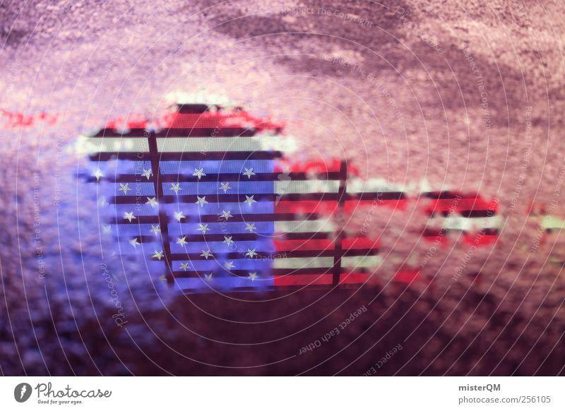 USA USA USA! blau Straße Kunst Tourismus ästhetisch Asphalt Fahne Amerika Stars and Stripes Kunstwerk Pfütze Krise System Logo abstrakt