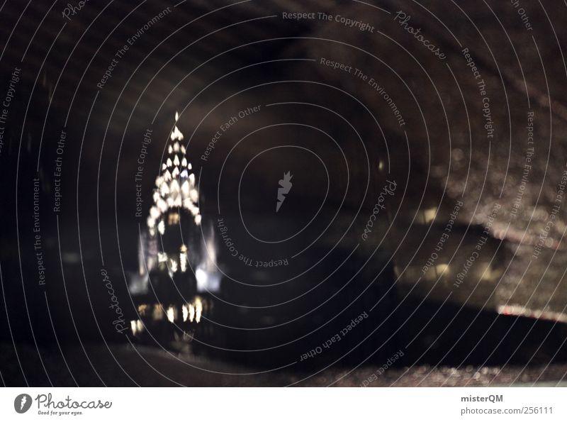 Weihnachten NY III Kunst Abenteuer ästhetisch USA Stars and Stripes New York City Skyline Nacht Reflexion & Spiegelung Pfütze Amerika Rockefeller Center
