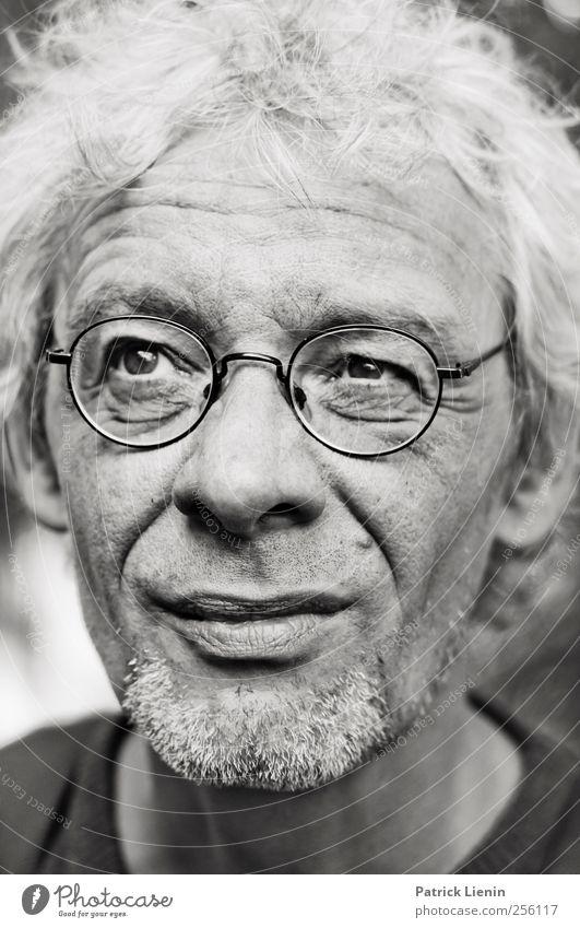 Skeptiker Mensch Mann Erwachsene Kopf Zufriedenheit maskulin Coolness Brille beobachten Vertrauen Bart Wachsamkeit 45-60 Jahre Respekt Weisheit klug