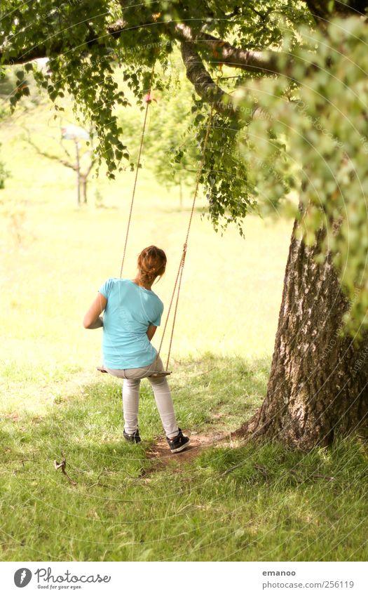 chill mal Mensch Kind Natur Jugendliche Ferien & Urlaub & Reisen grün Baum Mädchen Freude Blatt ruhig Erholung Landschaft Wiese Garten Stil