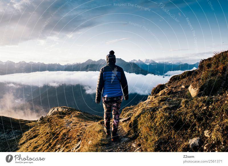 Wandern | Sonnenaufgang | Gipfel Himmel Natur Jugendliche Junge Frau Sommer Landschaft Wolken Einsamkeit ruhig Berge u. Gebirge 18-30 Jahre Erwachsene natürlich