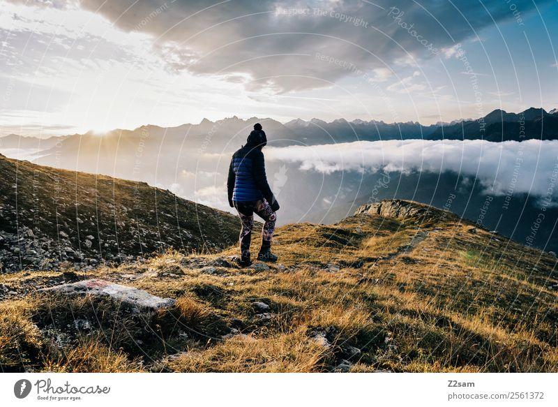 Sonnenaufgang   Wandern   Gipfel   Alpen Himmel Natur Ferien & Urlaub & Reisen Jugendliche Junge Frau Landschaft Erholung Wolken Berge u. Gebirge Erwachsene