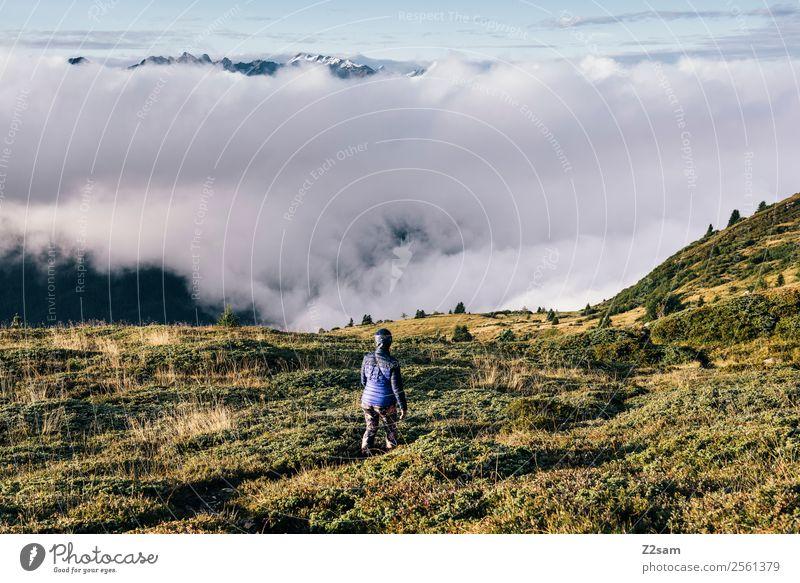 Wandern   Österreich   Über den Wolken Himmel Natur Ferien & Urlaub & Reisen Jugendliche Junge Frau Sommer Erholung Einsamkeit ruhig Berge u. Gebirge Erwachsene