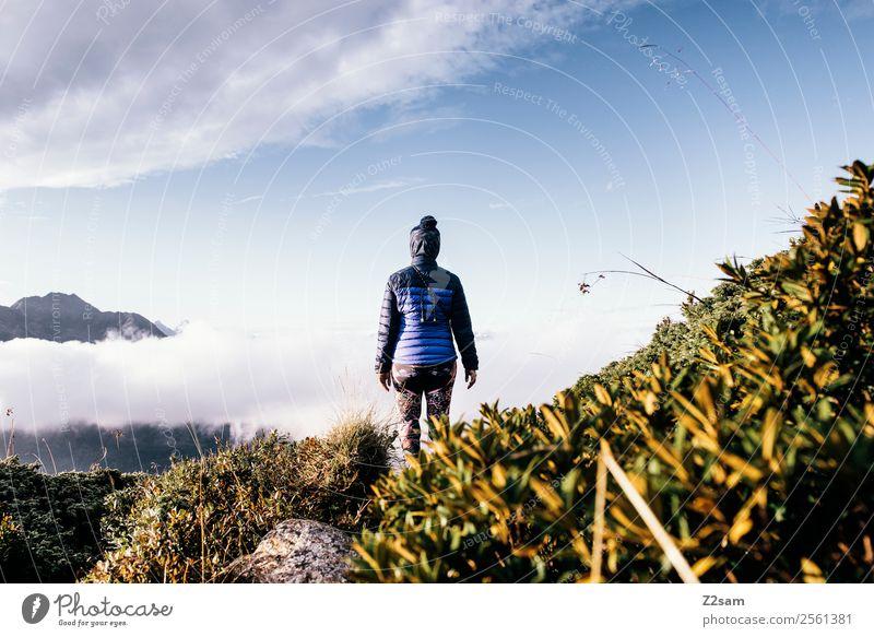 Gipfel | Wandern | Wolken Natur Ferien & Urlaub & Reisen Jugendliche Junge Frau Sommer Landschaft ruhig Berge u. Gebirge Erwachsene natürlich Tourismus wandern