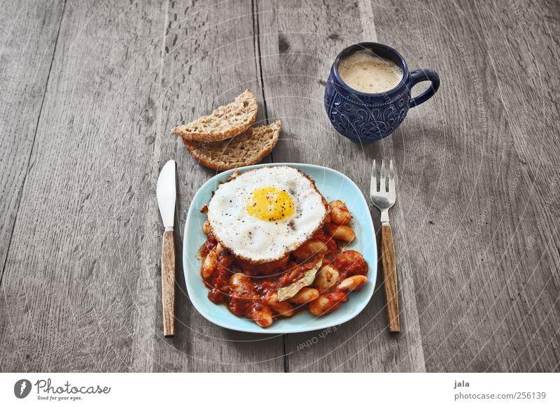 brunch Ernährung Lebensmittel Getränk Kaffee Gemüse Geschirr Tasse lecker Teller Frühstück Appetit & Hunger Brötchen Mittagessen Besteck Bohnen Holztisch