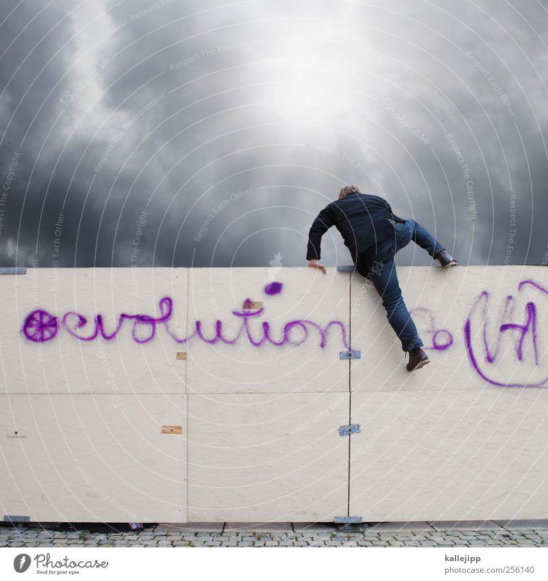 next level Mensch Natur Mann Wolken Erwachsene Graffiti Leben maskulin Erfolg Wissenschaften neu Neugier Klettern Zaun Vergangenheit entdecken