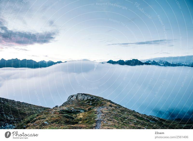 Blick Richtung Kaunertal Himmel Natur Sommer Landschaft Einsamkeit Wolken ruhig Ferne Berge u. Gebirge Umwelt Stimmung Horizont Nebel Aussicht Idylle Abenteuer