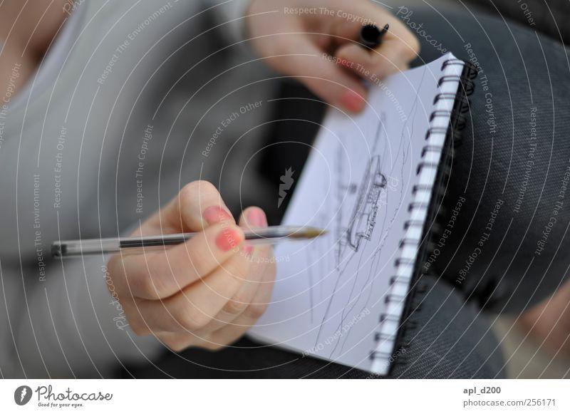 Malen ohne Zahlen Freizeit & Hobby Mensch Hand 1 Kunst sitzen authentisch grau rosa Zufriedenheit Erholung zeichnen malen Kugelschreiber Block Papier