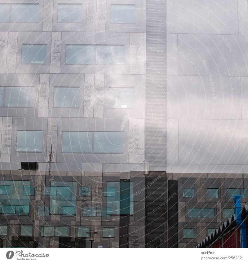 Universität blau Fenster Wand Architektur grau Gebäude Mauer Fassade ästhetisch Doppelbelichtung Chemnitz