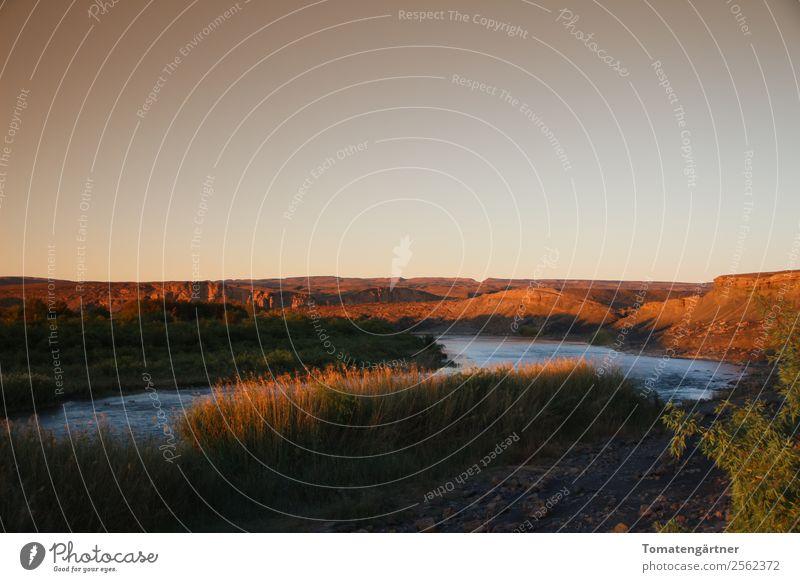 Orange River in Afrika Landschaft Wasser Himmel Sonnenaufgang Sonnenuntergang Sommer Gras Flussufer Menschenleer Stimmung Abenteuer Freiheit Natur