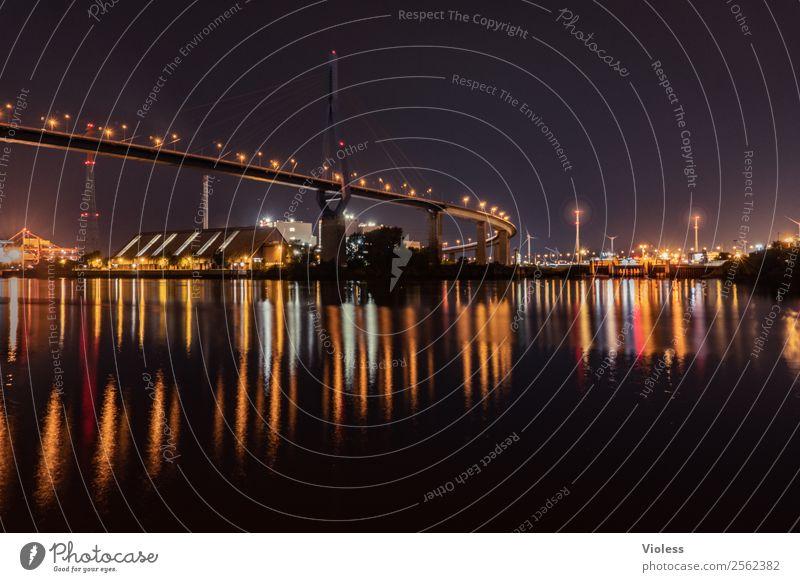 Lichtermeer Hafenstadt Brücke Bauwerk Gebäude Architektur Sehenswürdigkeit Wahrzeichen Köhlbrandbrücke glänzend dunkel fantastisch Hamburg Elbe