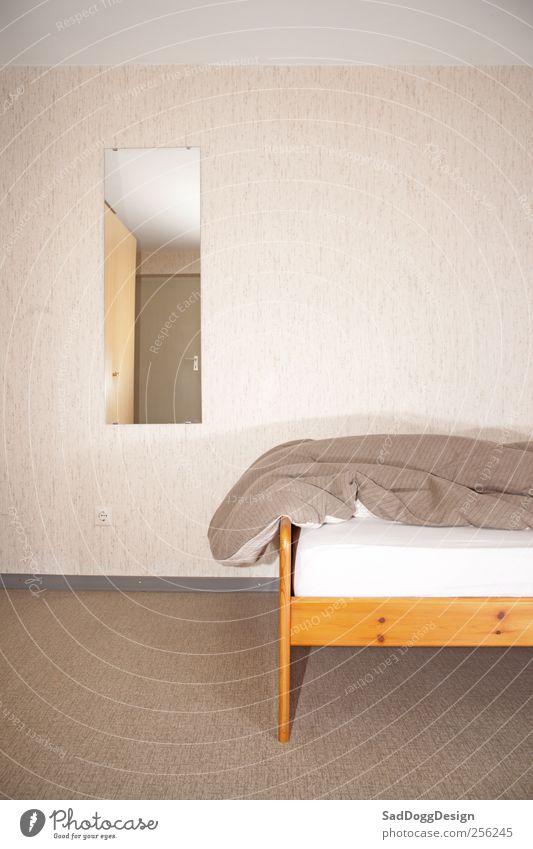 Pension Marianne Ferien & Urlaub & Reisen Innenarchitektur Möbel Spiegel Schlafzimmer schlafen retro braun Bettdecke unordentlich Gaestezimmer Hotel Schrank