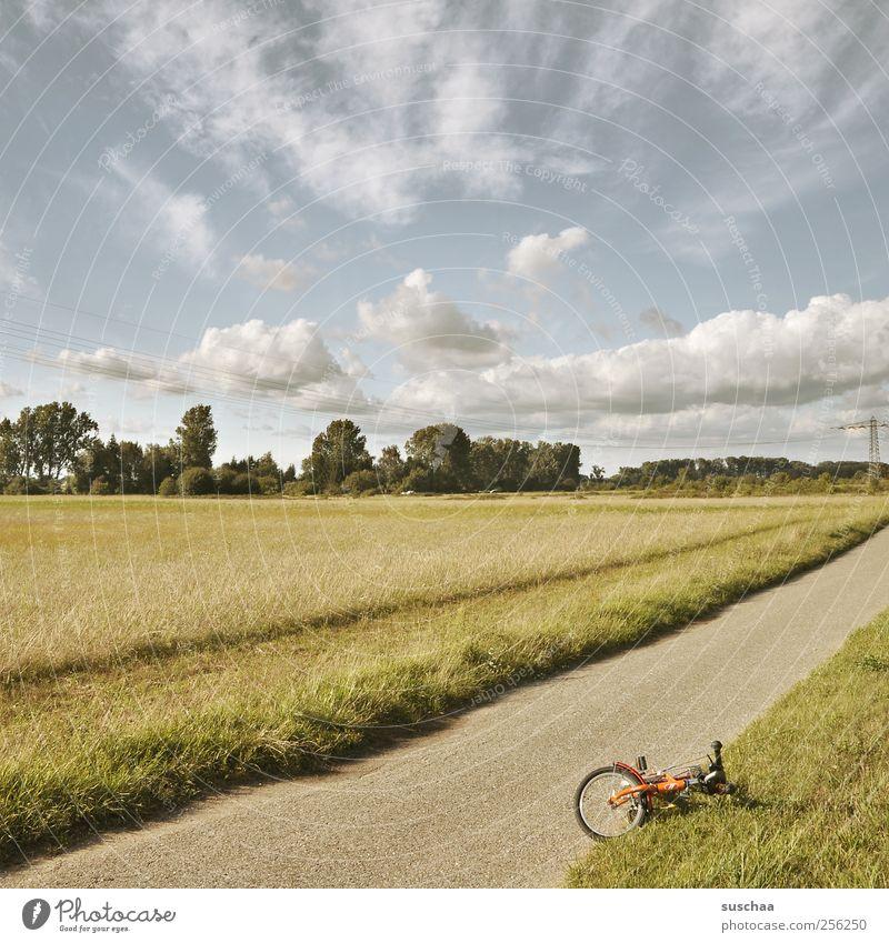 was besseres finden ... Umwelt Natur Landschaft Himmel Wolken Sommer Klima Schönes Wetter Feld Wege & Pfade Fahrrad Wegrand Rad Farbfoto Gedeckte Farben