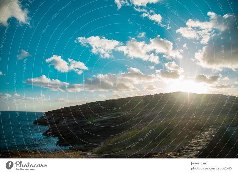 Strand und Hawaii Pazifik auf der Insel Oahu, Amerika Ferien & Urlaub & Reisen Tourismus Ausflug Sommer Meer Natur Himmel Wolken Hügel Paket grün amerika USA
