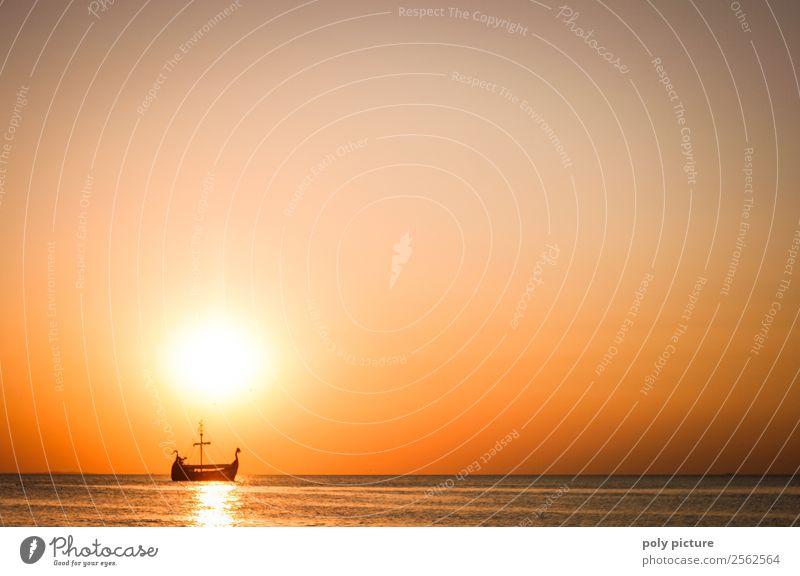 Wikinger Schiff auf See bei Abendsonne harmonisch Wohlgefühl Ferien & Urlaub & Reisen Tourismus Ausflug Abenteuer Ferne Freiheit Sommer Sommerurlaub Sonne
