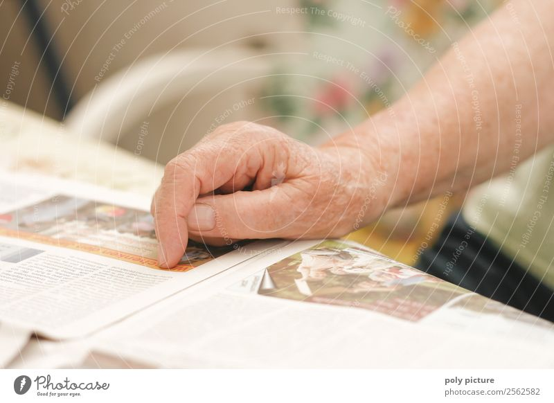 Hand einer Seniorin Frau Mann alt Erwachsene Leben Zufriedenheit 60 und älter Arme Vergänglichkeit einzigartig Wandel & Veränderung lesen Weiblicher Senior