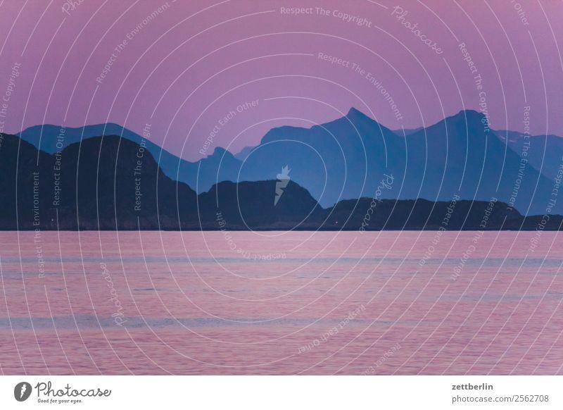 Lofoten again Abend Dämmerung Abenddämmerung Polarnacht Polarmeer Europa Felsen Ferien & Urlaub & Reisen Fjord Himmel Himmel (Jenseits) Horizont Insel