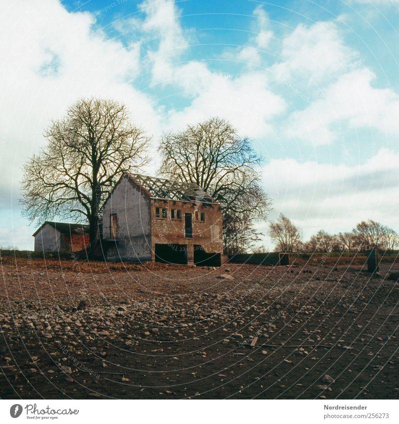 Danach... Haus Umwelt Natur Landschaft Himmel Wolken Herbst Klima Baum Ruine Bauwerk Gebäude kaputt Verfall Vergänglichkeit Farbfoto Außenaufnahme Menschenleer