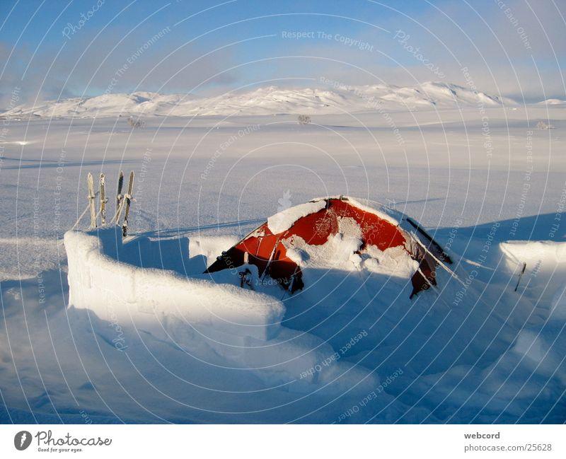 Zelt mit Windmauer 1323_04 Winter Skitour Gegenlicht Norwegen Süd-Norwegen Hardangervidda Camping Wetterschutz Supernova Berge u. Gebirge Schnee Wintertouren
