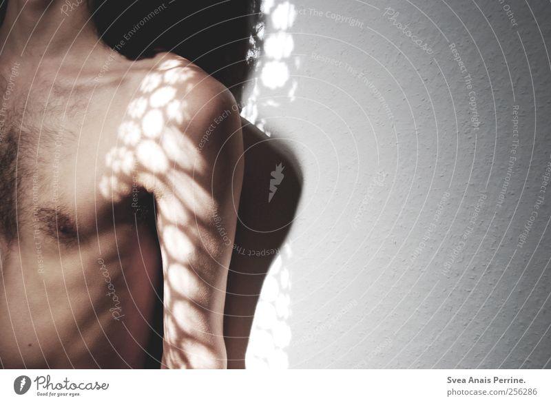 gezeichnet aus licht und schatten. Mensch Erwachsene kalt Wand Traurigkeit Mauer Körper Haut maskulin leuchten einzigartig 18-30 Jahre dünn Brust Schulter