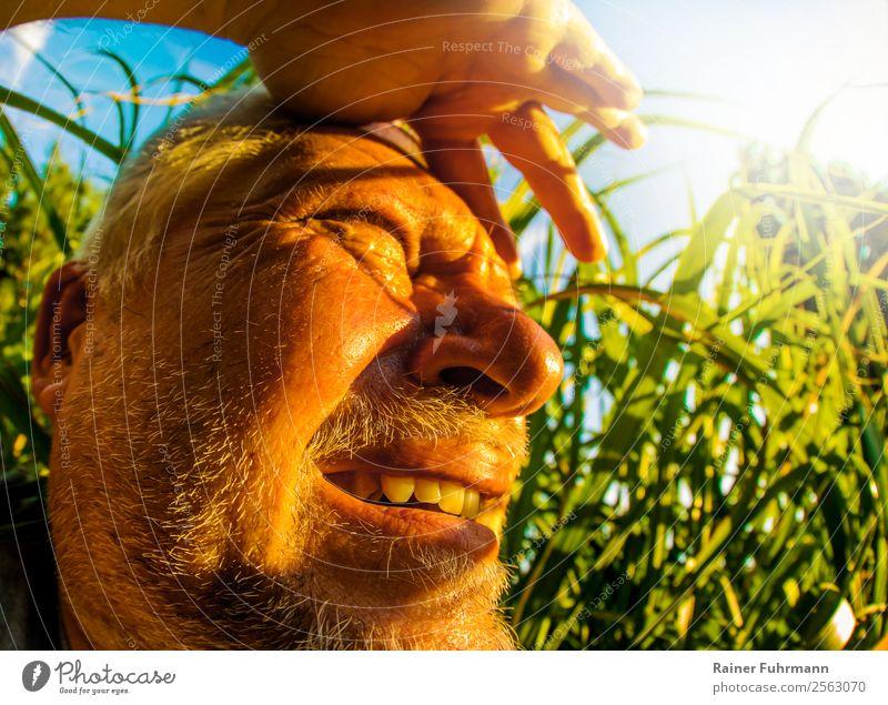 ein Mann sieht bei großer Hitze ins Sonnenlicht Mensch maskulin Erwachsene Männlicher Senior Kopf 1 Umwelt Natur Himmel Sommer Klima Klimawandel Wetter