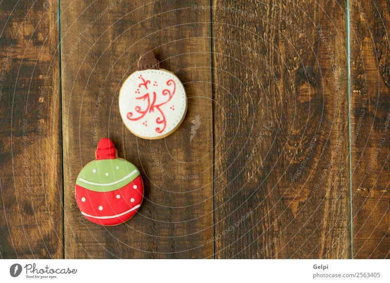 Leckere Weihnachtskekse Dessert Kräuter & Gewürze Winter Dekoration & Verzierung Tisch Feste & Feiern Weihnachten & Advent Holz Ornament lecker braun grün rot
