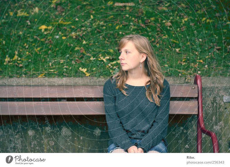 Keinen Zentimeter. Mensch Junge Frau Jugendliche 1 18-30 Jahre Erwachsene Herbst Gras Blatt Park Pullover blond langhaarig Bank beobachten sitzen träumen schön