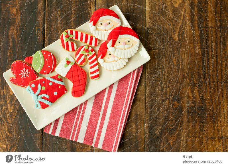 Leckere Weihnachtskekse Dessert Kräuter & Gewürze Teller Winter Dekoration & Verzierung Tisch Feste & Feiern Weihnachten & Advent Holz Ornament lecker braun rot