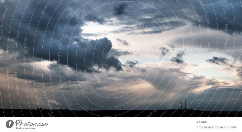 Stuttgarter Fernseh(s)turm Natur blau Sommer Wolken schwarz dunkel Umwelt Landschaft Horizont Unwetter Wahrzeichen Gewitter Sehenswürdigkeit