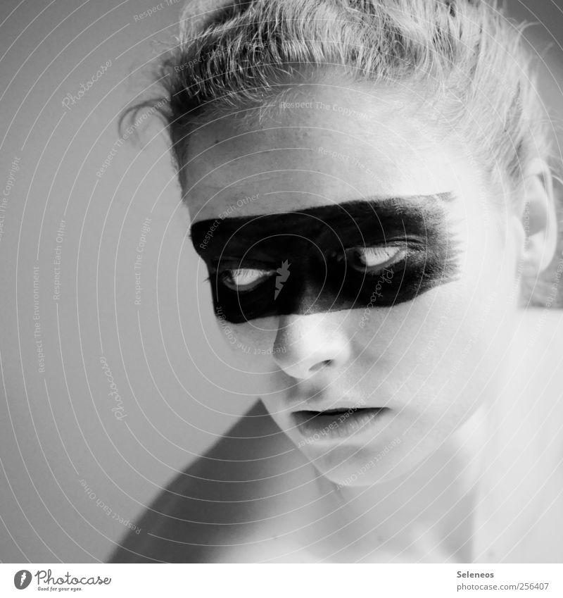 - Mensch feminin Junge Frau Jugendliche Haut Kopf Haare & Frisuren Gesicht Auge Ohr Nase Mund Lippen 1 Zeichen Linie Streifen träumen ästhetisch Schwarzweißfoto